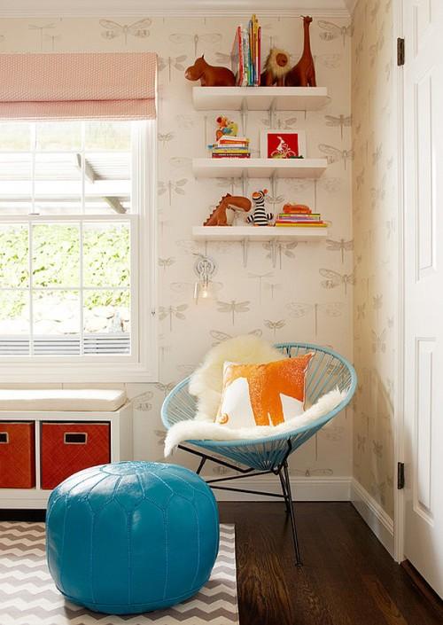 dormitorio bebe en azul y naranja