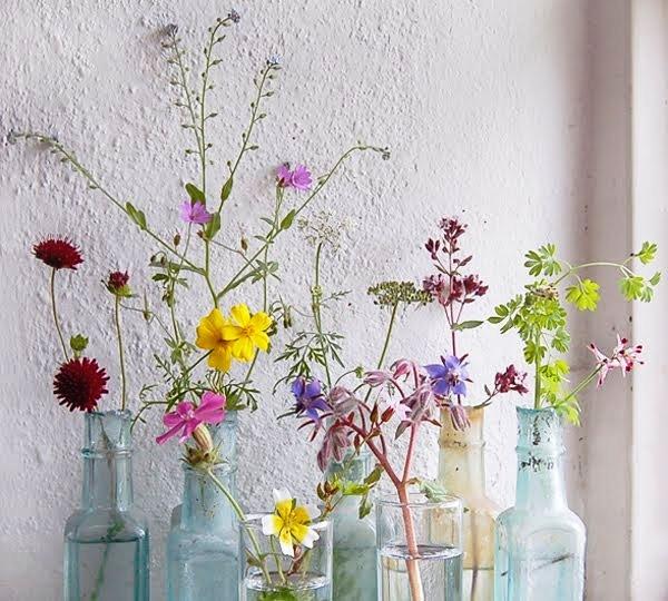 flores en viejas botellas de cristal